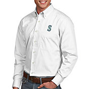Antigua Men's Seattle Mariners Dynasty Button-Up White Long Sleeve Shirt