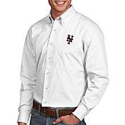 Antigua Men's New York Mets Dynasty White Long Sleeve Button Down Shirt