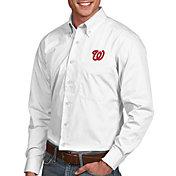 Antigua Men's Washington Nationals Dynasty White Long Sleeve Button Down Shirt