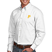 Antigua Men's Pittsburgh Pirates Dynasty Button-Up White Long Sleeve Shirt