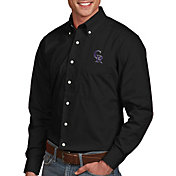 Antigua Men's Colorado Rockies Dynasty Button-Up Black Long Sleeve Shirt