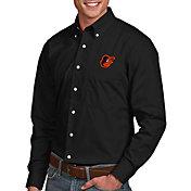 Antigua Men's Baltimore Orioles Dynasty Button-Up Black Long Sleeve Shirt