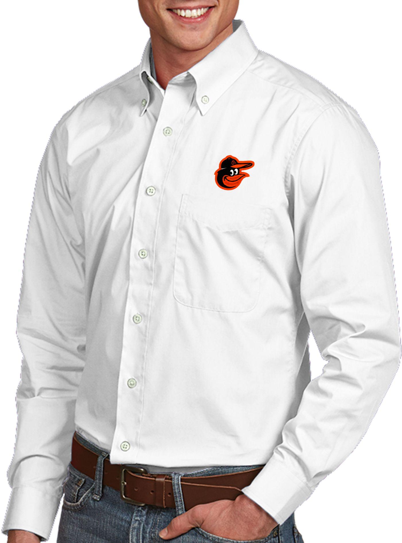 Antigua Men's Baltimore Orioles Dynasty Button-Up White Long Sleeve Shirt