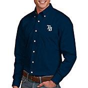 Antigua Men's Tampa Bay Rays Dynasty Navy Long Sleeve Button Down Shirt