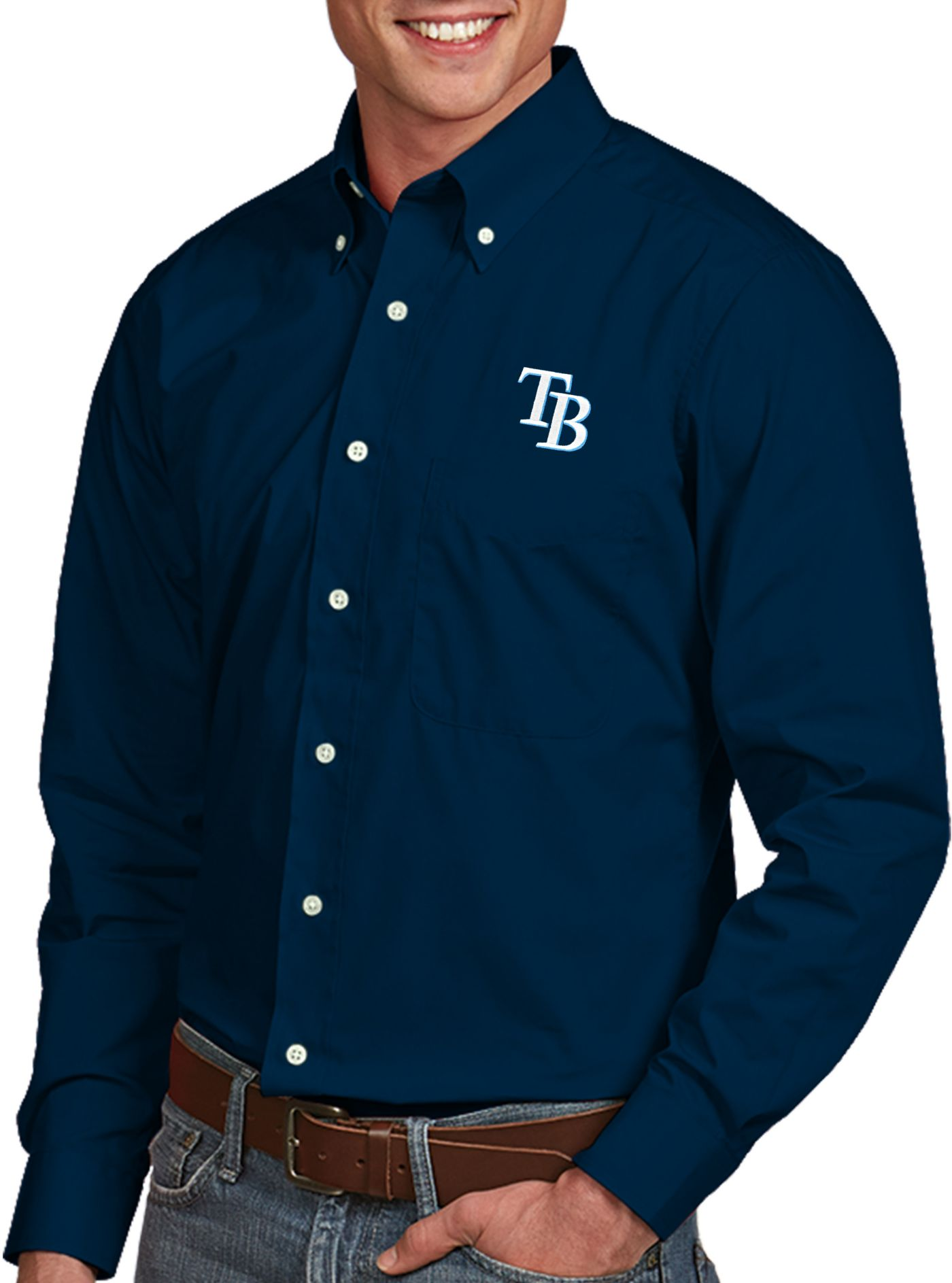 Antigua Men's Tampa Bay Rays Dynasty Button-Up Navy Long Sleeve Shirt