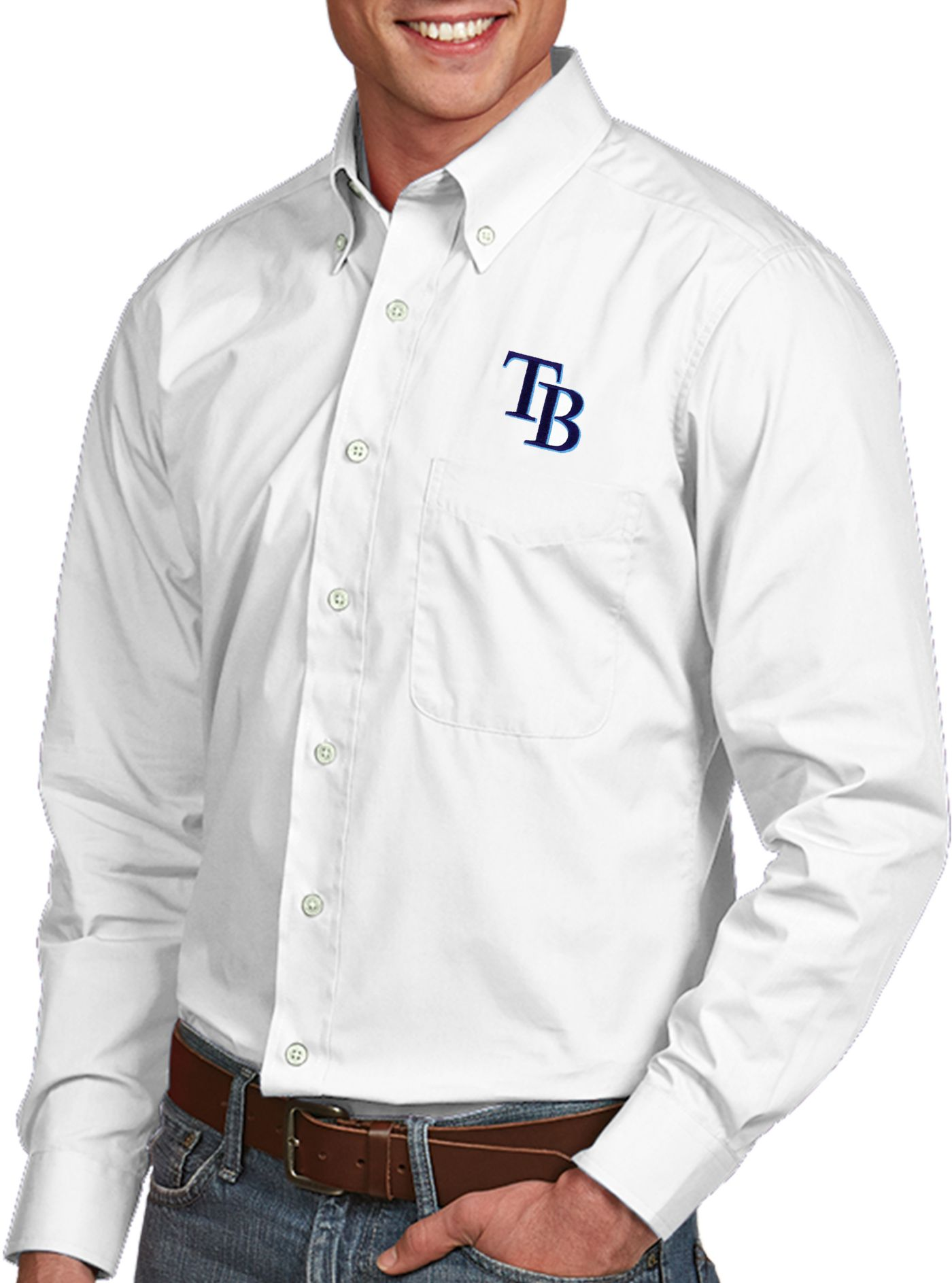 Antigua Men's Tampa Bay Rays Dynasty Button-Up White Long Sleeve Shirt