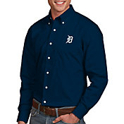 Antigua Men's Detroit Tigers Dynasty Button-Up Navy Long Sleeve Shirt