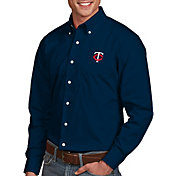Antigua Men's Minnesota Twins Dynasty Button-Up Navy Long Sleeve Shirt