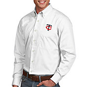 Antigua Men's Minnesota Twins Dynasty Button-Up White Long Sleeve Shirt