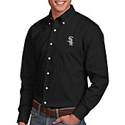 Antigua Men's Chicago White Sox Dynasty Button-Up Black Long Sleeve Shirt