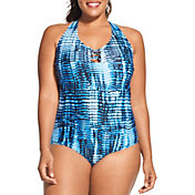 Speedo Women's Plus Size Knotted Racerback One Piece Swimsuit