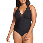 Speedo Women's Plus Size Mesh V-Neck One Piece Swimsuit