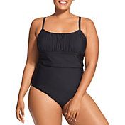 Speedo Women's Plus Size Solid Shirred One Piece Swimsuit