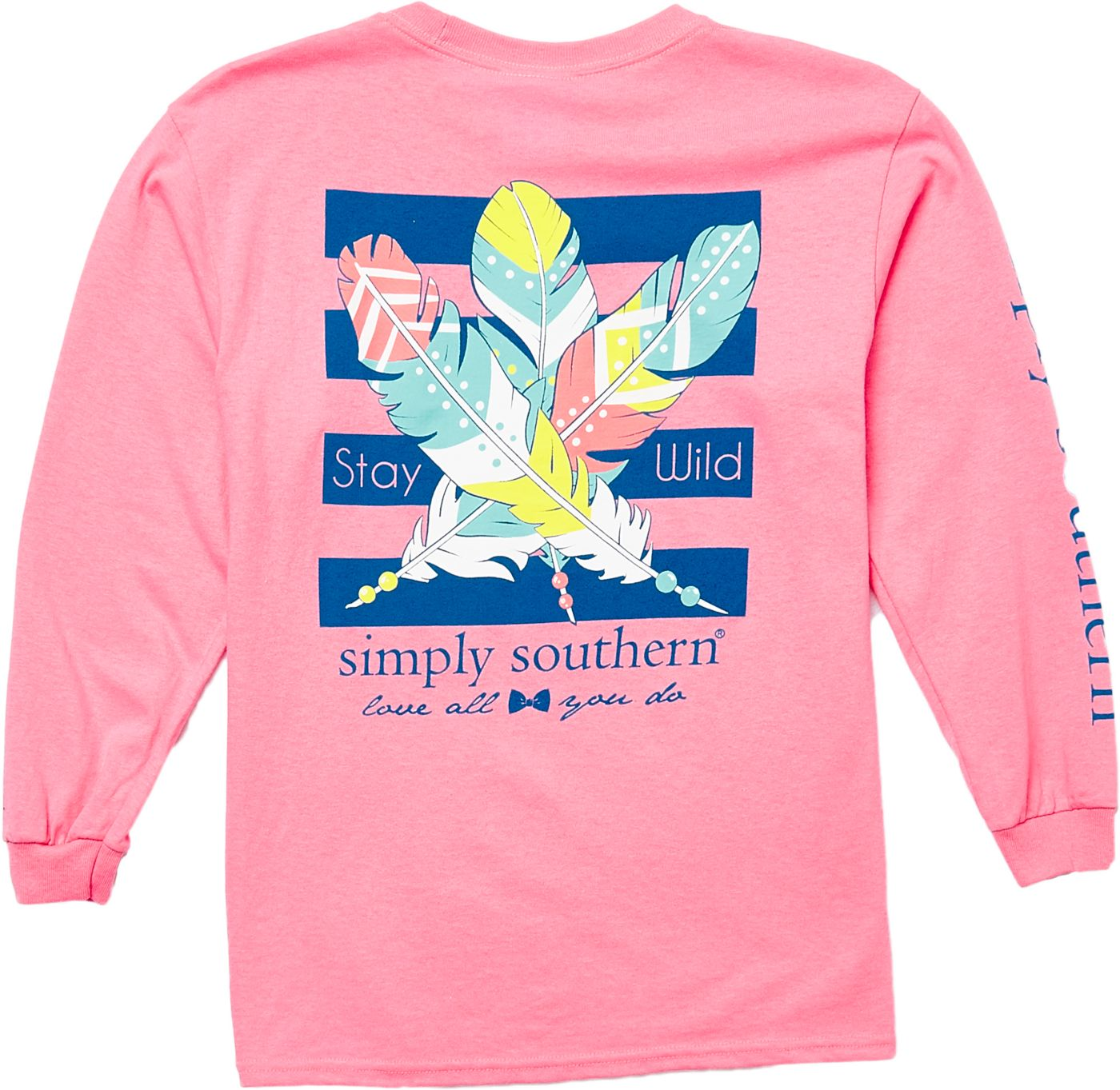 Simply Southern Girls' Feather Long Sleeve T-Shirt