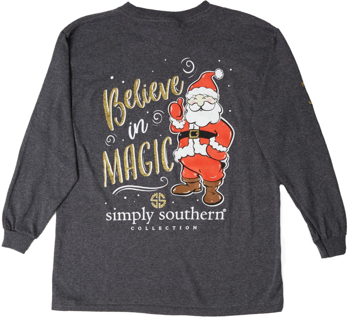 Simply Southern Girls' Long Sleeve Santa T-Shirt