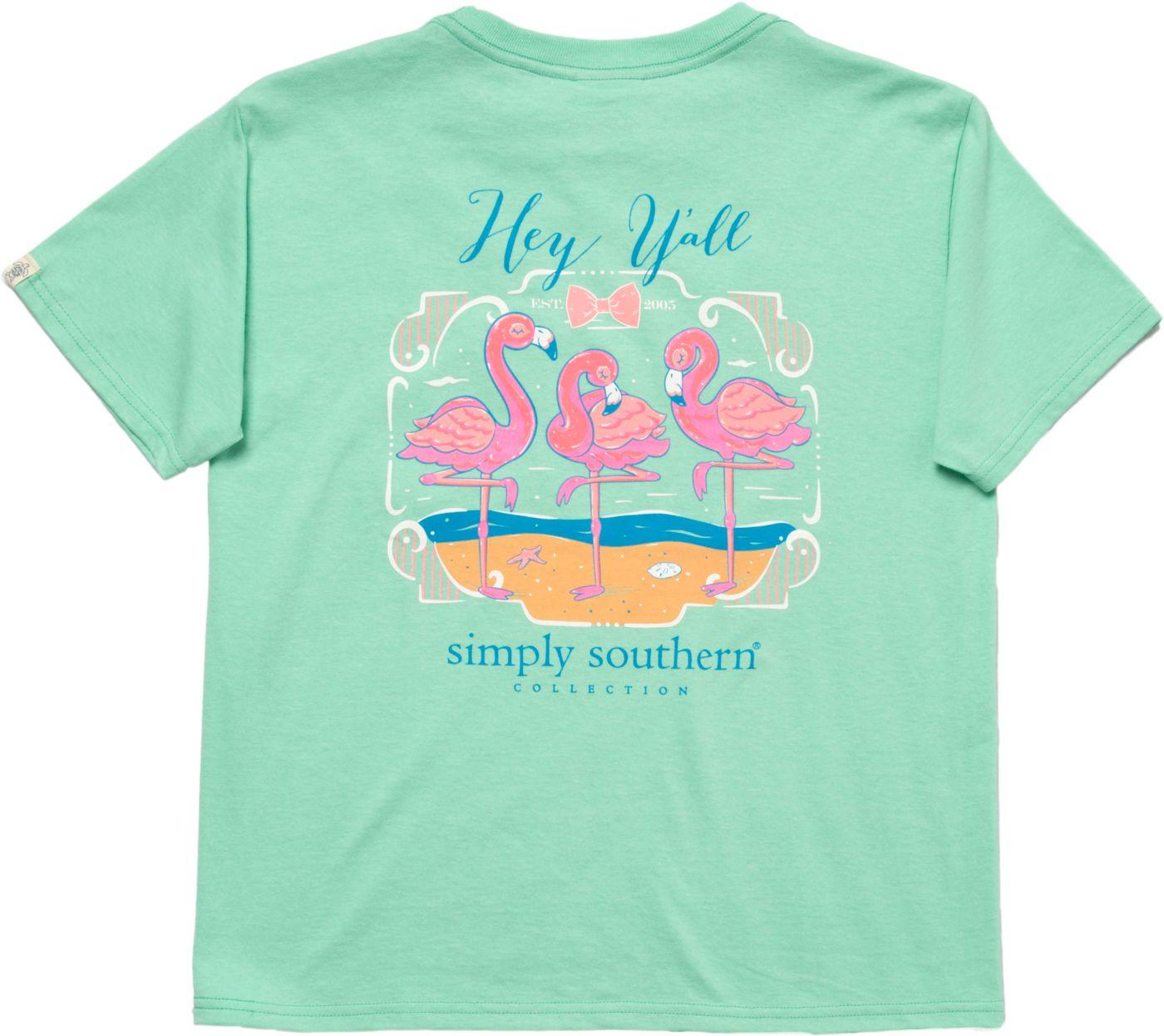Simply Southern Girls' Flamingo Pocket Short Sleeve T-Shirt