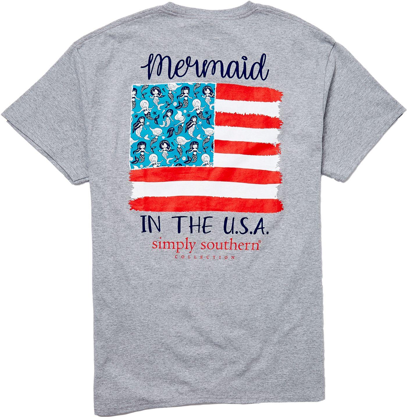 Simply Southern Women's Short Sleeve Mermaids USA T-Shirt