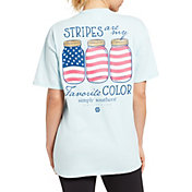 Simply Southern Women's Short Sleeve Stripes USA T-Shirt
