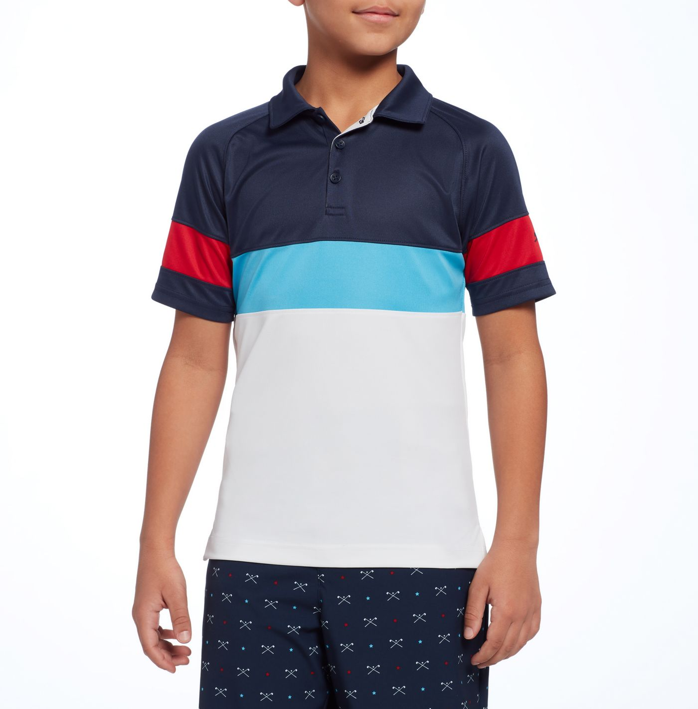 Slazenger Boys' USA Colorblock Golf Polo