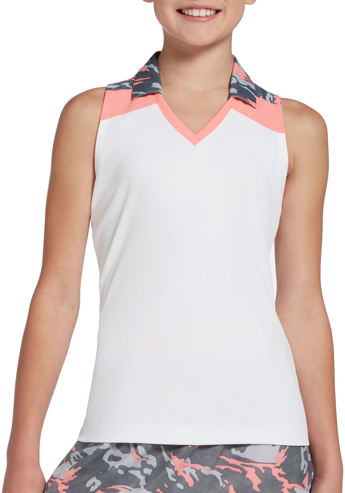 Slazenger Girls' Camo Colorblock Sleeveless Golf Polo