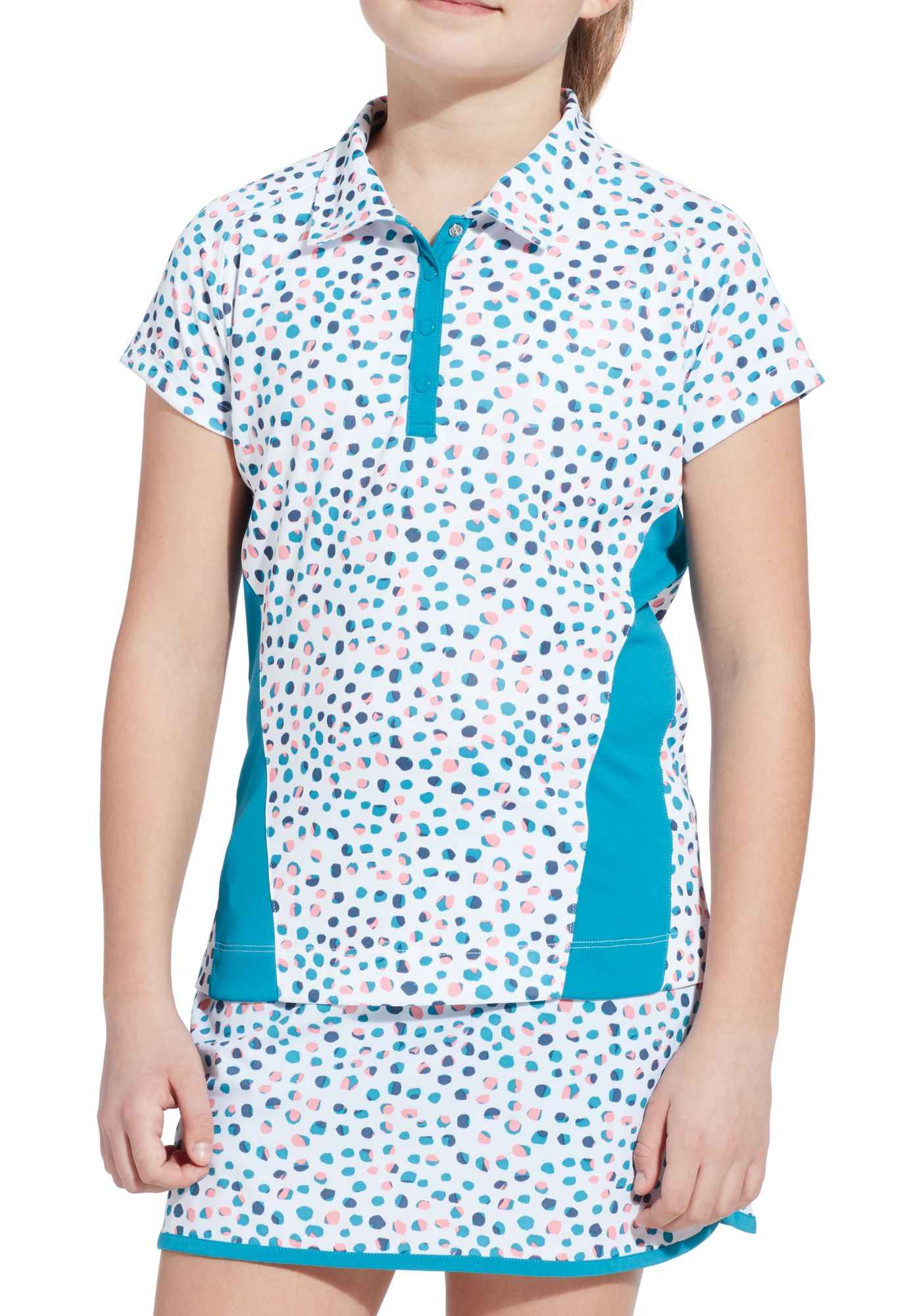 Slazenger Girls' Dot Printed Short Sleeve Golf Polo
