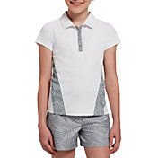 Slazenger Girls' Geo Printed Snap Button Golf Polo