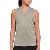 Slazenger Girls' Mock Neck Heathered Sleeveless Golf Polo