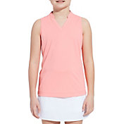 Slazenger Girls' Mock Neck Sleeveless Golf Polo