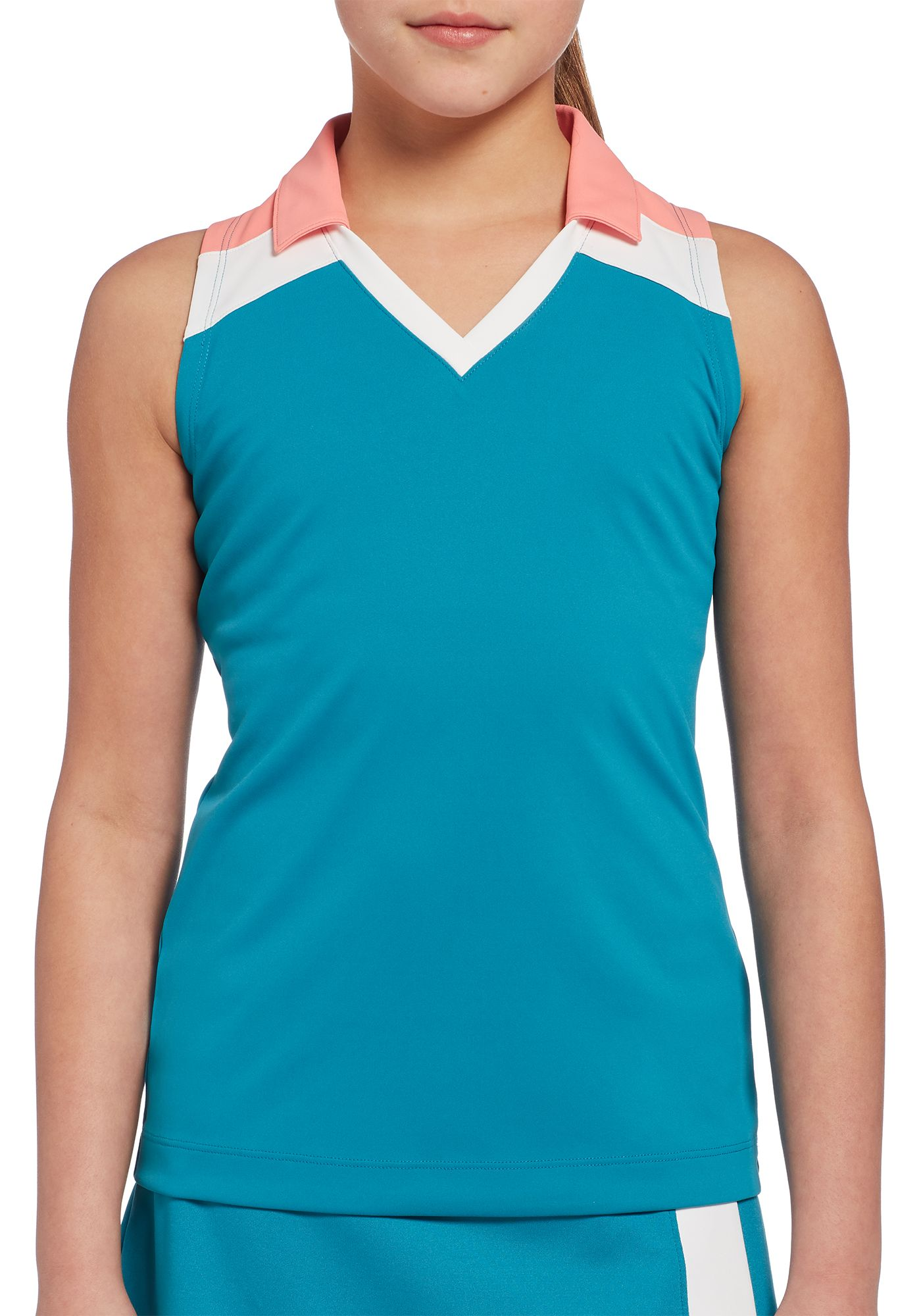 Slazenger Girls' Solid Colorblock Sleeveless Golf Polo