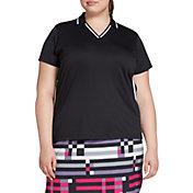 Slazenger Women's Ribbed Inset Short Sleeve Golf Polo – Extended Sizes