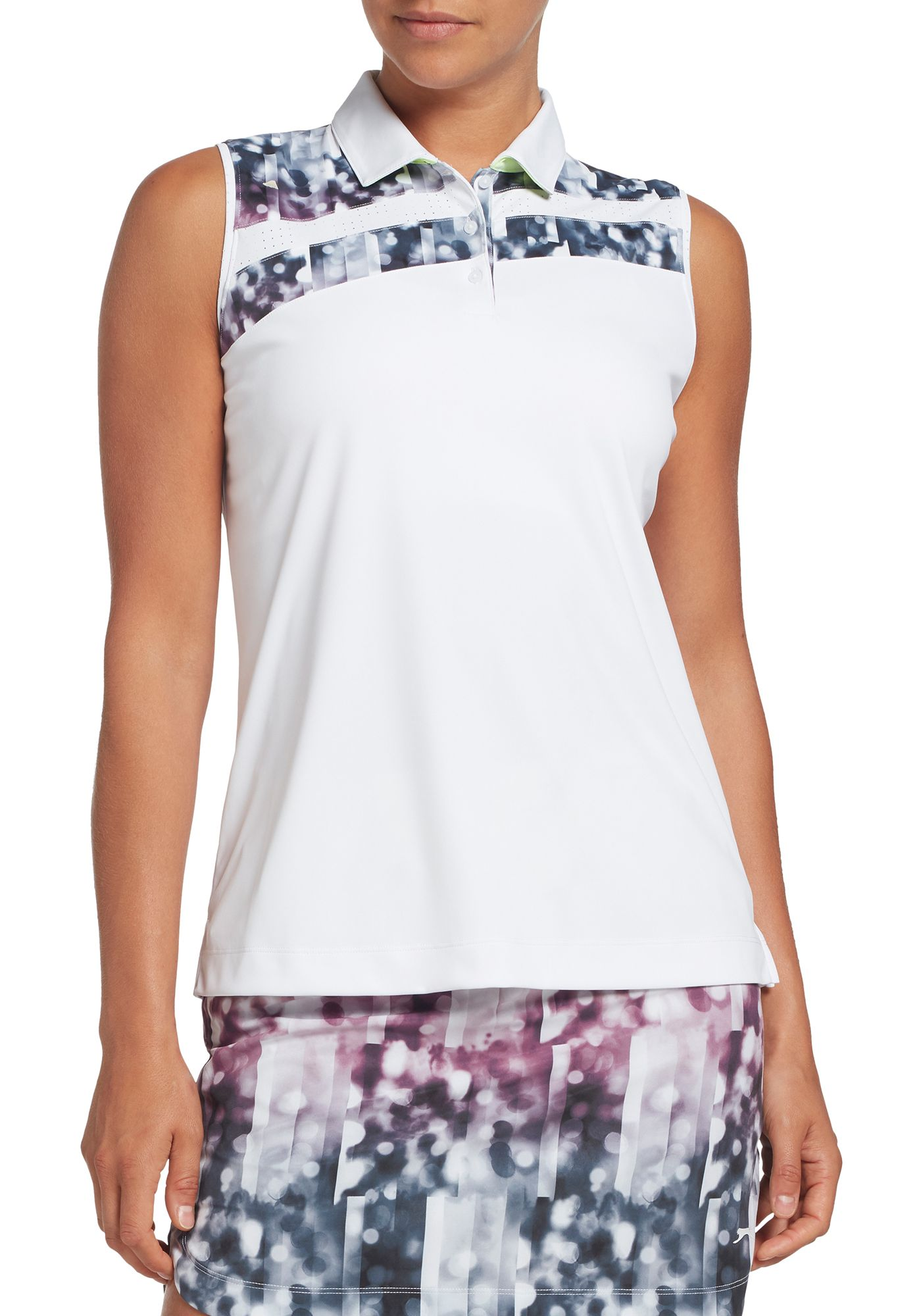 Slazenger Women's Asymmetrical Printed Sleeveless Golf Polo