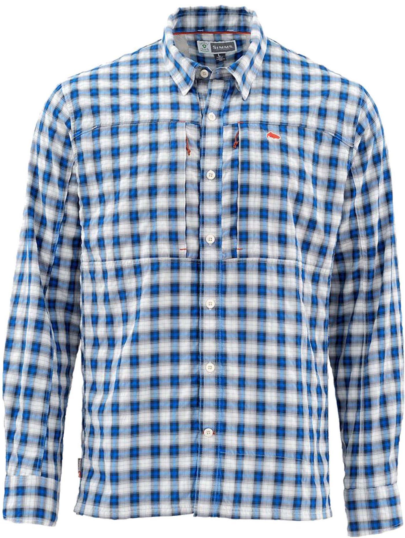 Simms Men's Bugstopper Plaid Long Sleeve Button Down Shirt