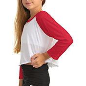 Soffe Girls' Baseball Cropped Long Sleeve Shirt