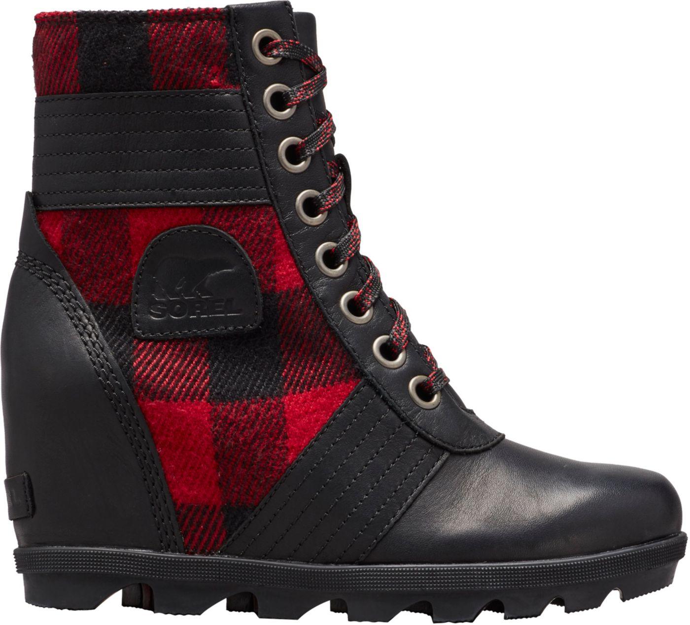 SOREL Women's Lexie Wedge Plaid Casual Boots