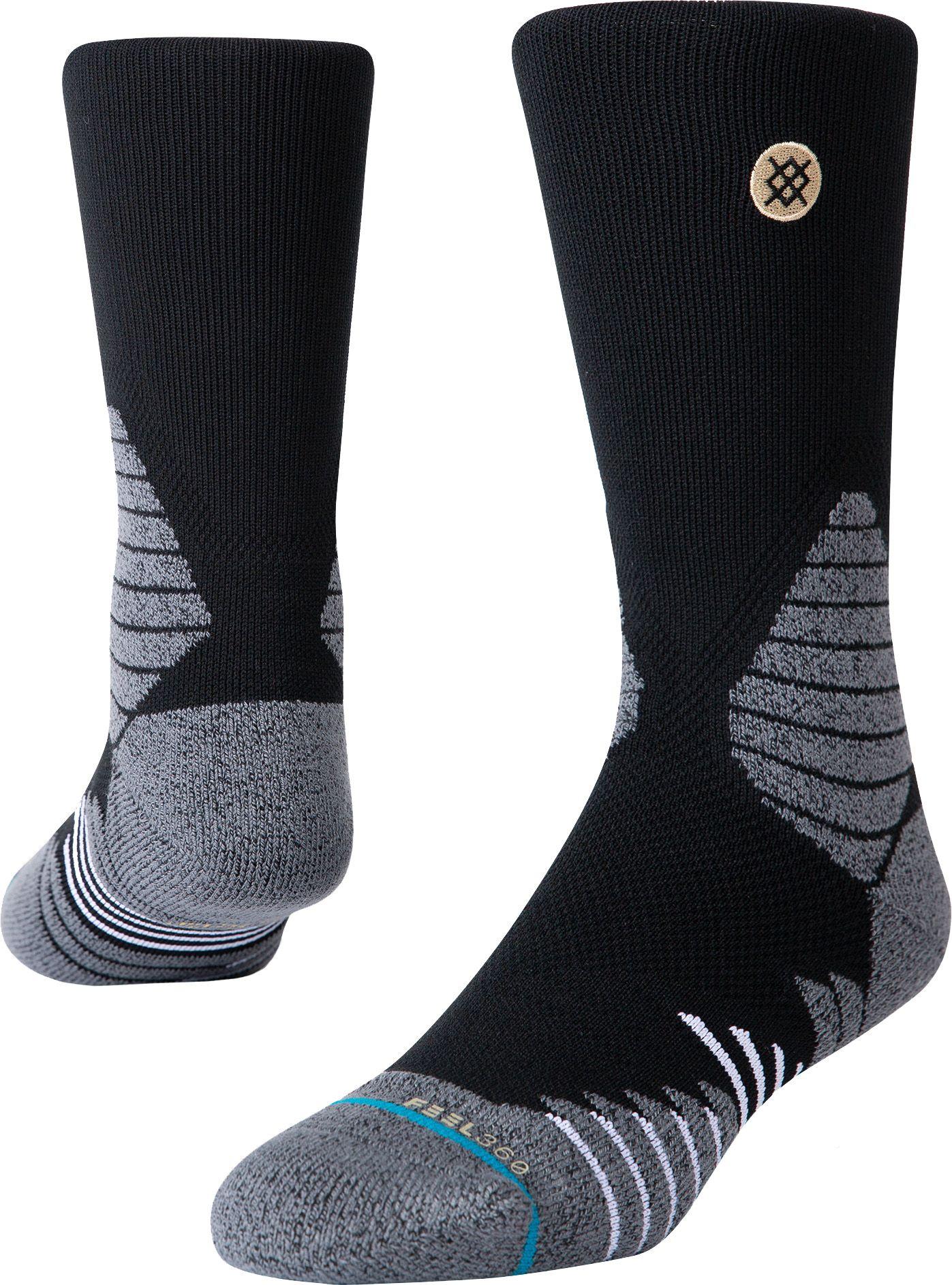 Stance Adult Icon Hoops Crew Socks, Large, Black