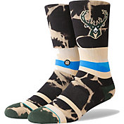 Stance Men's Milwaukee Bucks Acid Wash Crew Socks