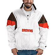 Starter Men's Cleveland Browns Breakaway White Quarter-Zip Jacket