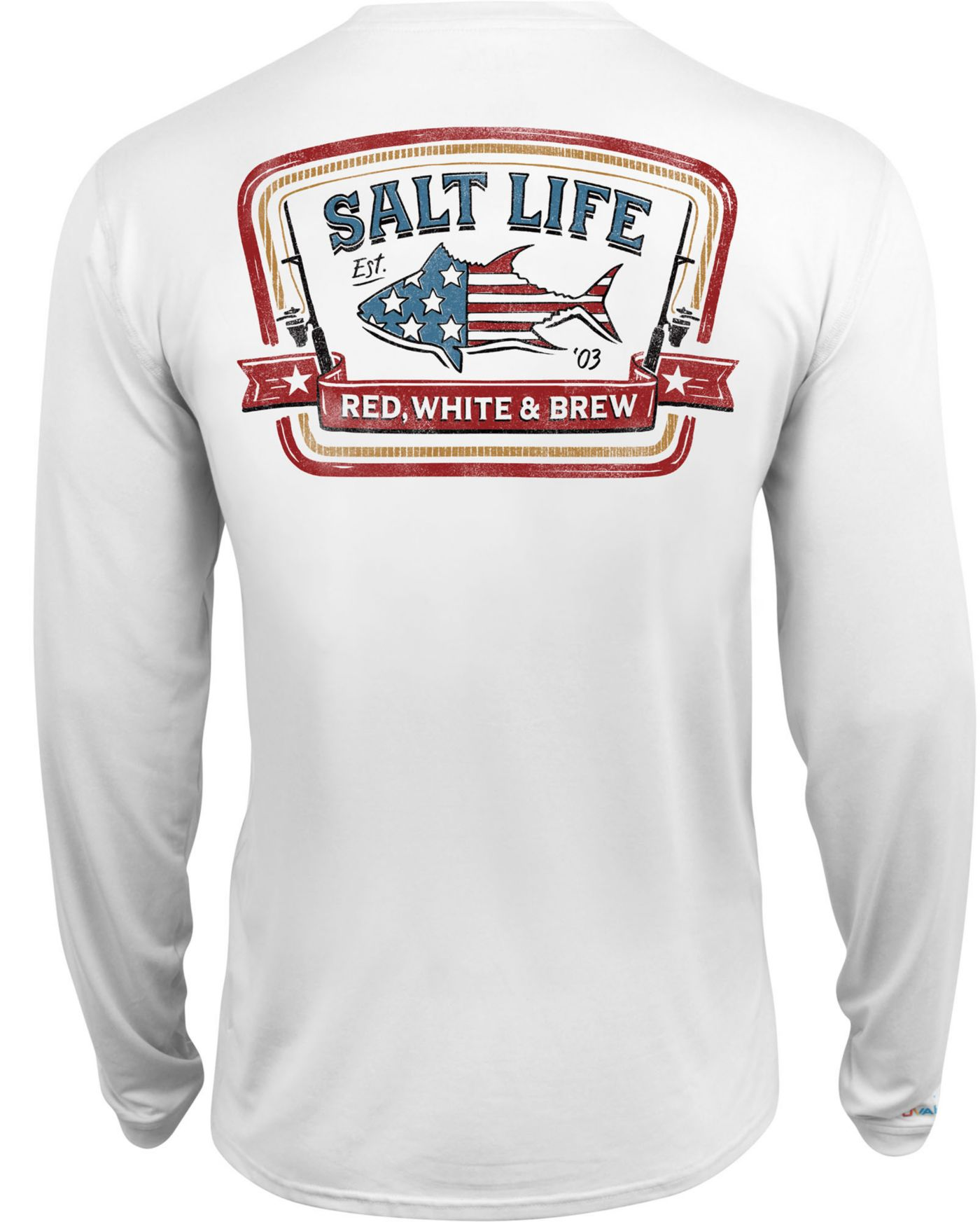 Salt Life Men's Red White and Brew Performance Long Sleeve Shirt