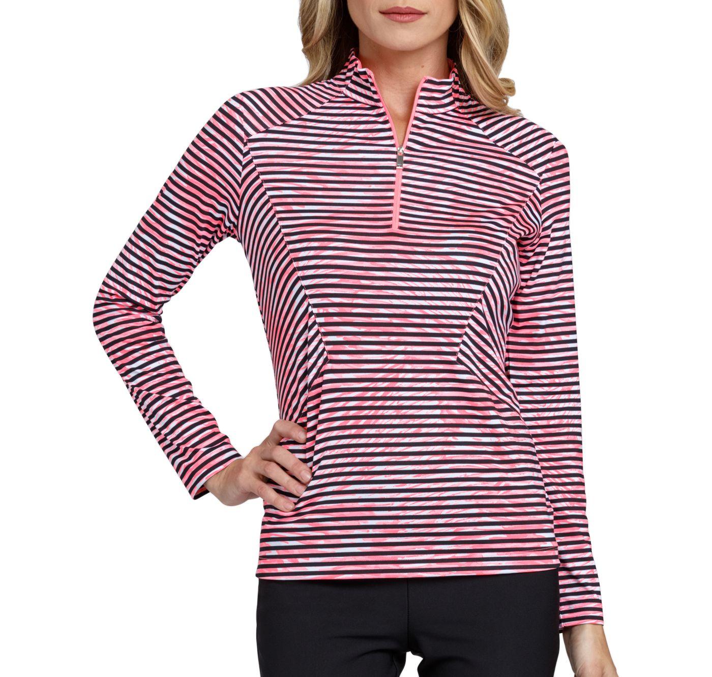 Tail Women's Stylized Striped Mock Neck Golf Top