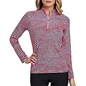 Tail Women's Stylized Striped Mock Neck Golf Top - Extended Sizes