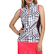 Tail Women's Gingham Sleeveless Golf Polo