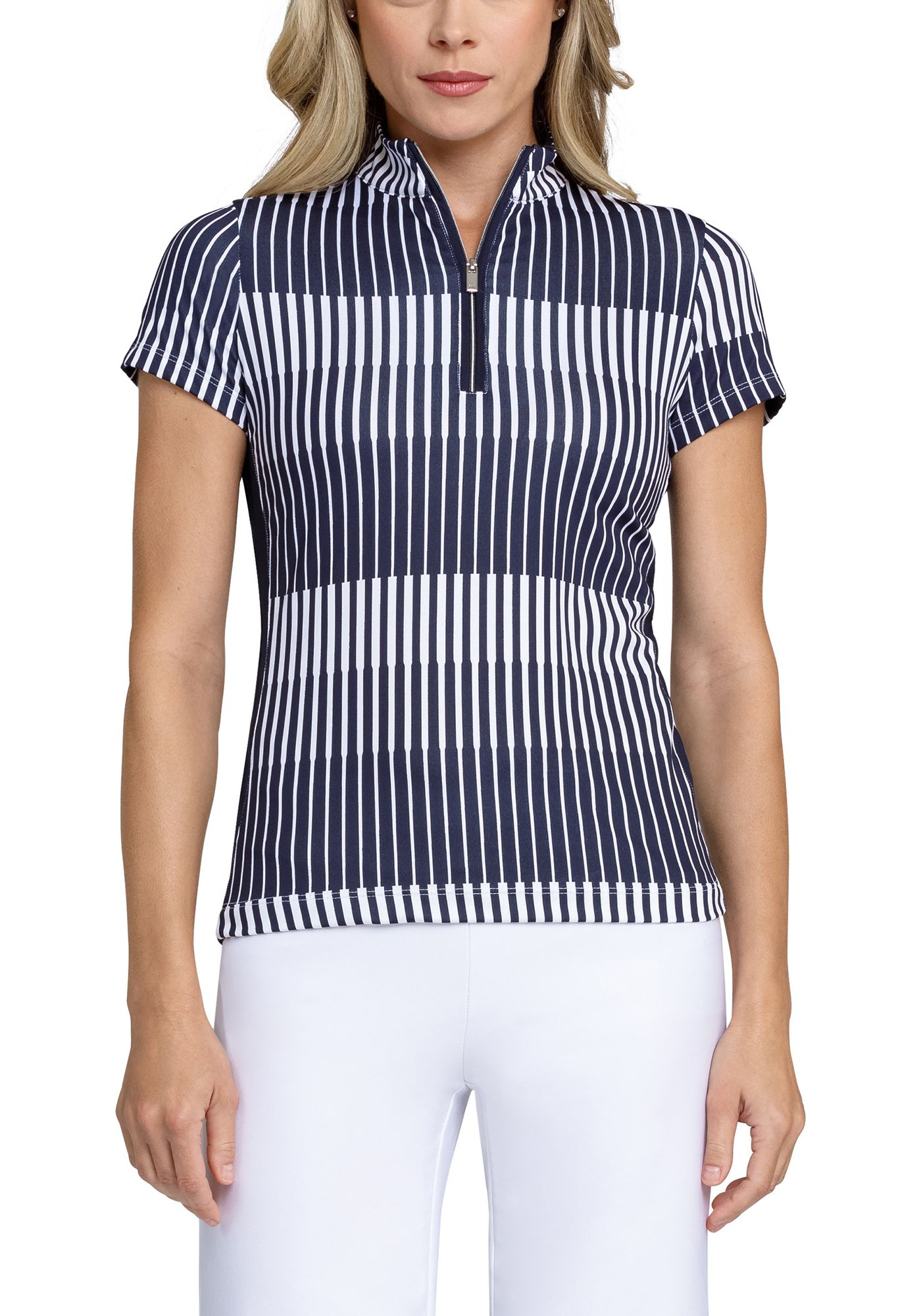 Tail Women's Extended Size Mock Neck Wrap Back Short Sleeve Golf Polo