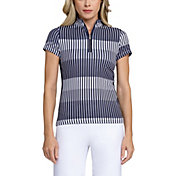 Tail Women's Mock Neck Wrap Back Short Sleeve Golf Polo