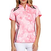 Tail Women's Short Sleeve Floral Mock Neck Golf Polo