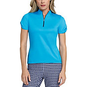 Tail Women's Extended Size Mini Mock Neck Twist Short Sleeve Golf Polo