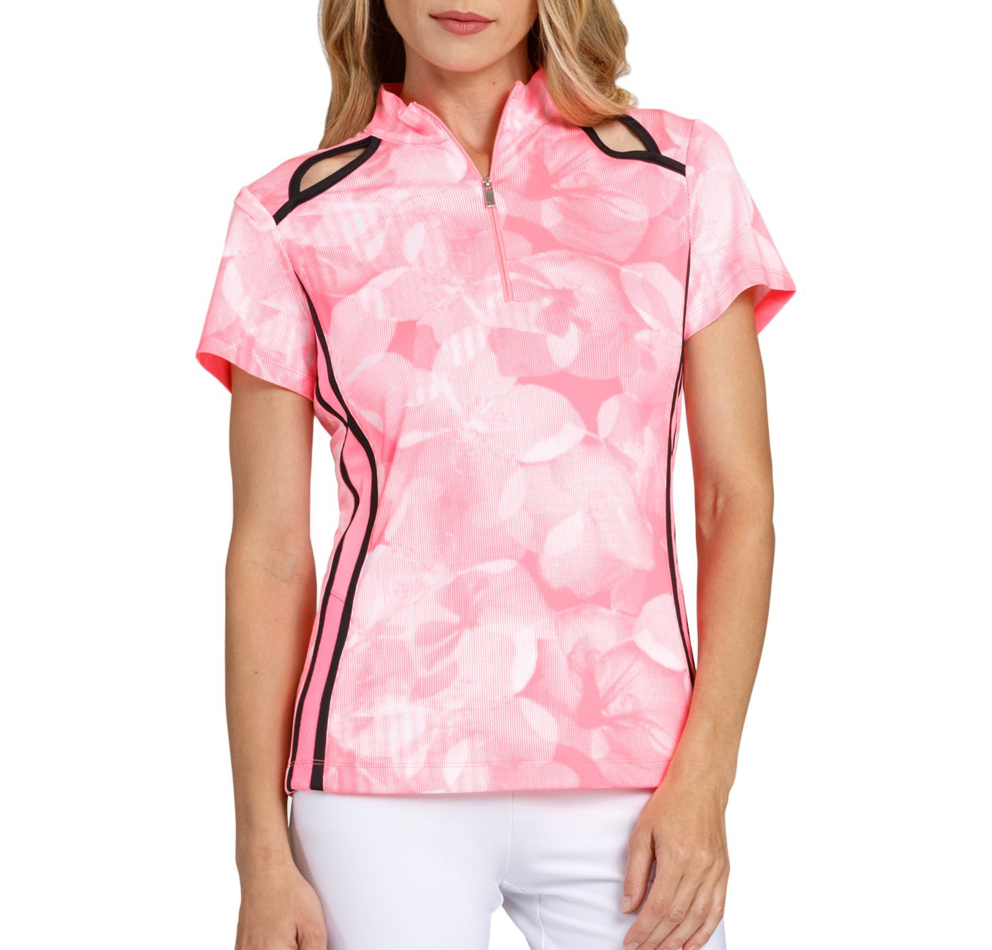 Tail Women's Floral Keyhole Cutout Mock Neck Golf Polo