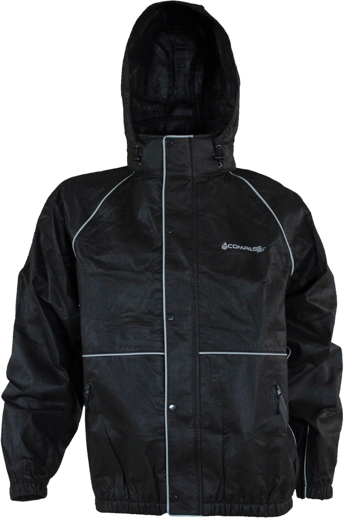 Compass 360 ROADTEK Reflective Waterproof Breathable Rain Jacket, Men's, Size: Medium, Black