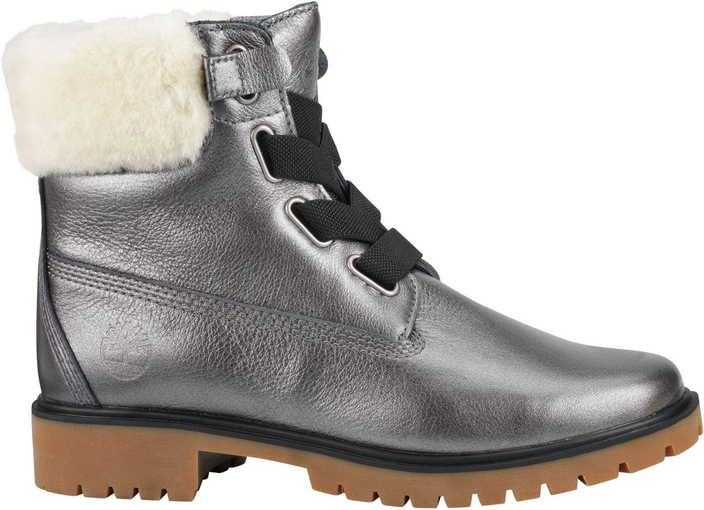Timberland Women's Jayne 6'' Shearling Metallic Waterproof Casual Boots