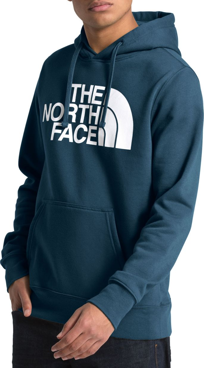 North Face Half Dome Hoodie Blue Fleece Pullover Mens Men's