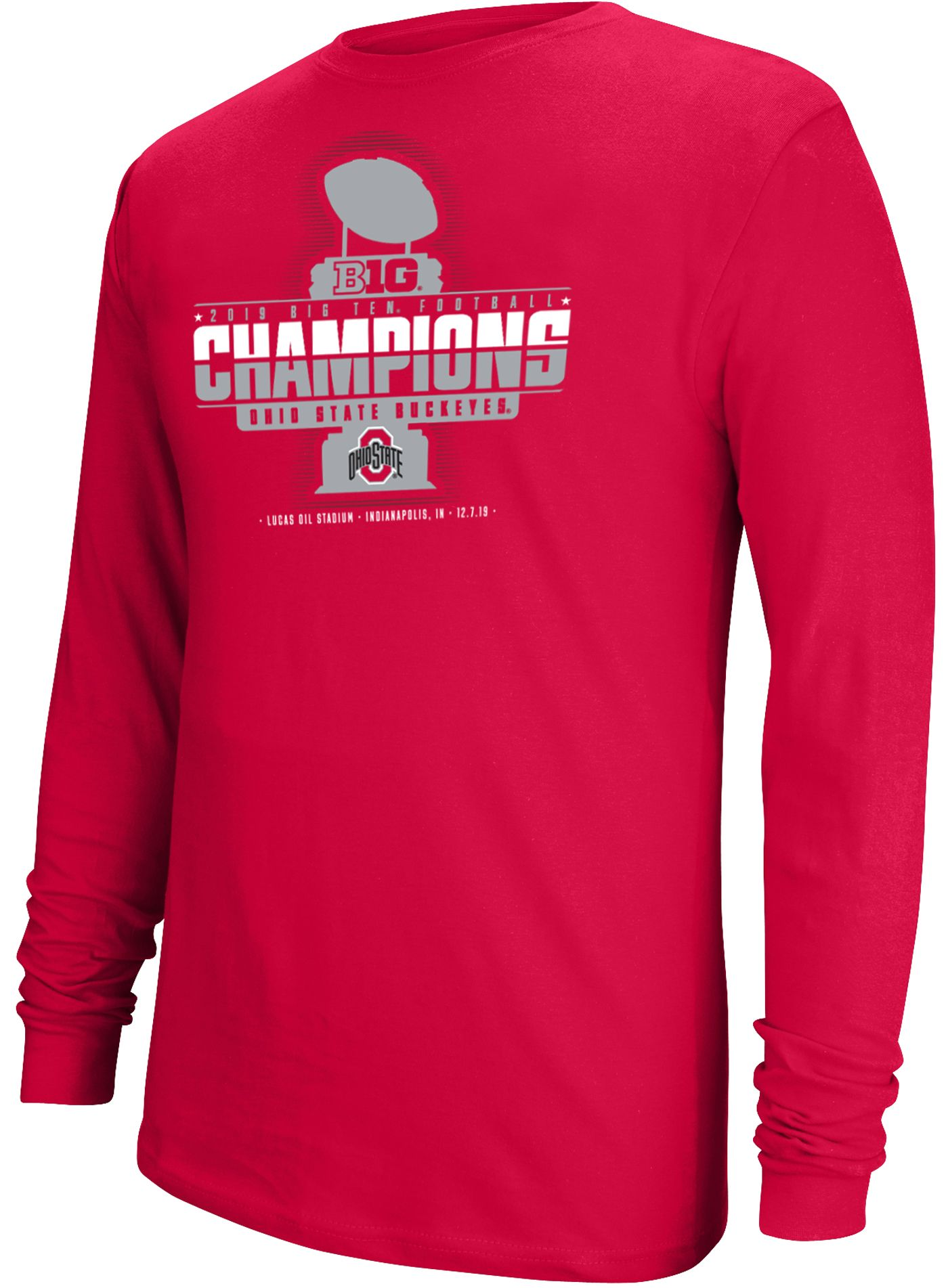 Scarlet & Gray Men's 2019 Big Ten Football Champions Ohio State Buckeyes Long Sleeve Locker Room T-Shirt
